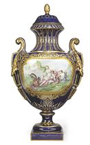 A LARGE SEVRES-STYLE COBALT-BLUE GROUND VASE AND COVER