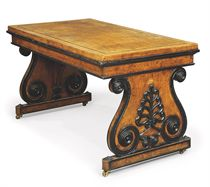 A REGENCY EBONISED BURR-ELM CENTRE TABLE