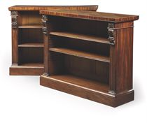 A PAIR OF REGENCY MAHOGANY LOW OPEN BOOKCASES