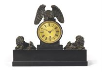 A GEORGE IV BRONZE-MOUNTED BLACK MARBLE EIGHT DAY TIMEPIECE MANTEL CLOCK