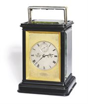 A VICTORIAN GIANT EBONY WESTMINSTER-CHIMING EIGHT DAY CARRIAGE CLOCK WITH DENT'S SPLIT HANDLE