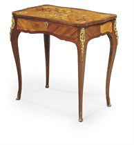 A LOUIS XV ORMOLU-MOUNTED TULIPWOOD, AMARANTH, BOIS SATINE AND FLORAL MARQUETRY TABLE A ECRIRE