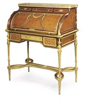 A FRENCH ORMOLU-MOUNTED MAHOGANY AND BOIS SATINE PARQUETRY BUREAU-A- CYLINDRE