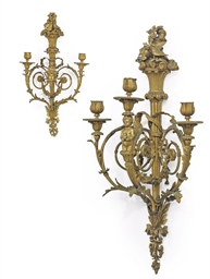 A PAIR OF FRENCH ORMOLU THREE-