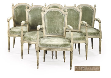 A SET OF SIX LOUIS XVI CREAM-P