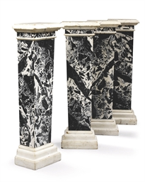 A SET OF FOUR ITALIAN MARBLE P