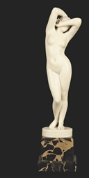 A FRENCH IVORY FIGURE OF FEMAL