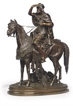 A FRENCH BRONZE GROUP OF AN ARAB HUNTSMAN ON HORSEBACK