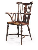 A LATE VICTORIAN MAHOGANY WINDSOR ARMCHAIR
