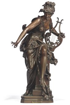 A FRENCH BRONZE FIGURE ENTITLED 'MELODIE'