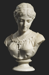 AN AMERICAN MARBLE BUST OF EVA