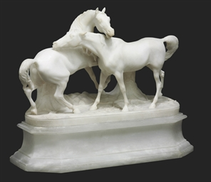 A FRENCH ALABASTER EQUESTRIAN
