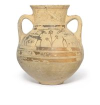 A MYCENAEAN PICTORAL STYLE POTTERY AMPHORA