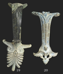 A GREEK BRONZE HANDLE