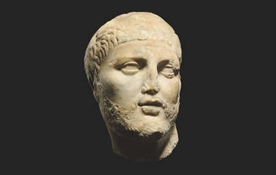 A GREEK MARBLE BEARDED MALE HE