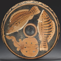 A PAESTAN RED-FIGURE FISH PLAT
