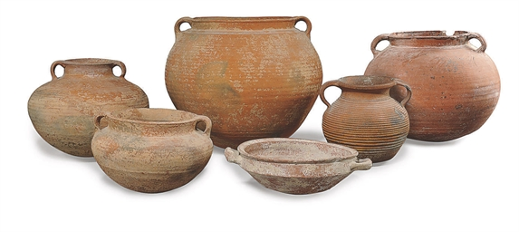 A GROUP OF SIX ROMAN RED WARE