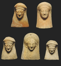 FIVE GREEK TERRACOTTA FEMALE H