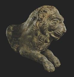 A ROMAN BRONZE LION PROTOME