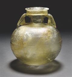 A ROMAN GREEN GLASS ARYBALLOS