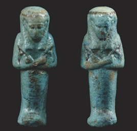 TWO EGYPTIAN BLUE GLAZED COMPO