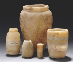 FIVE EGYPTIAN ALABASTER VESSEL