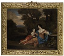 Portrait of two ladies, traditionally identified as Mrs. Richard Saltonstale of Chipping Warden, Northamptonshire, and her daughter Ricarda, in a landscape