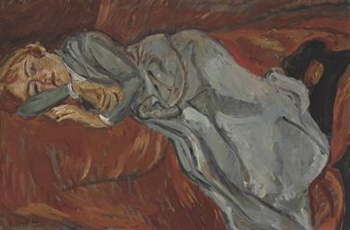 Femme couchée sur un divan rou