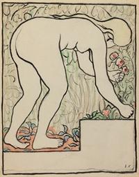 Femme nue, penché sur les fleu