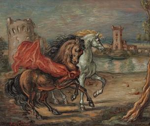 Cavalli presso un lago