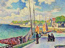 Petit port, pêcheurs et bateaux au quai