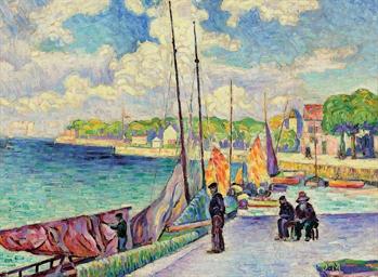 Petit port, pêcheurs et bateau