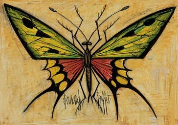 Papillon vert et orange