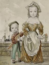 Les deux enfants portant le pa