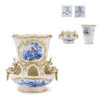 A VINCENNES FLOWER VASE AND STAND (VASE A DAUPHIN)