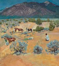 Taos Landscape with Indians