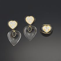 A pair of diamond, onyx and rock crystal earrings, by Verney and a diamond and onyx ring