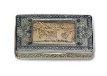 A FRENCH SILVER-GILT AND NIELLO SNUFF BOX WITH GOLD RELIEF P