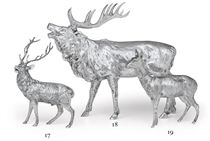 A GERMAN SILVER MODEL OF A FOURTEEN-POINT STAG