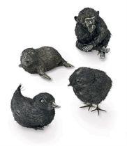 FOUR ITALIAN SILVER ANIMALS