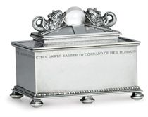 A GEORGE V SILVER AND ROCK CRYSTAL CASKET