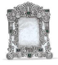 A SILVER, ENAMEL AND HARDSTONE PICTURE FRAME
