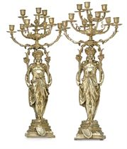 A PAIR OF FRENCH SILVER-GILT NINE-LIGHT CANDELABRA