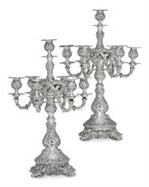 A PAIR OF AMERICAN SILVER SEVEN-LIGHT CANDELABRA