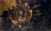 Angeli in volo con volto di Cristo entro un tondo