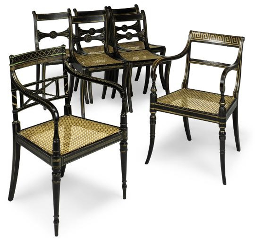 Composite Dining Set : A composite set of six regency parcel gilt simulated