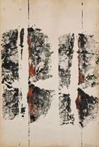 """Lotto di 2 opere: a) Toti Scialoja (1914-1998)    Battute    firmato e datato Scialoja 59 (in basso a destra); firmato e    datato Scialoja 1959 (sul retro)    tecnica mista su carta    cm 47x34    Eseguito nel 1959    Opera in corso di registrazione presso la Fondazione Scialoja, Roma    Bibliografia:    G.C. Argan, La pittura in """"Almanacco Letterario Bompiani"""",    Milano 1960 (illustrato) b) Antonio Sanfilippo (1923-1980)    Senza titolo    firmato Sanfilippo (in basso a destra)    tempera su carta    cm 24x32    Eseguito nel 1960    L'autenticità dell'opera è stata confermata verbalmente da    Antonella Sanfilippo, Roma    Bibliografia:    E. Zolla, Sonnambulismo coatto - sulla contaminazione    cinematografica II in """"Sipario"""", n. 178, Milano, febbraio 1961, p.    4 (illustrato con didascalia errata)  (2)"""