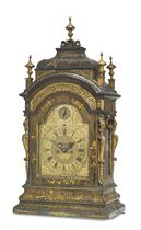 A GEORGE I GREEN JAPANNED STRIKING EIGHT DAY TABLE CLOCK WITH PULL QUARTER REPEAT
