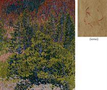 Bergwald im Herbst, 1909/10 (verso: Kleine Kopfstudie)