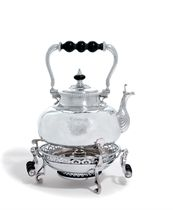A QUEEN ANNE SILVER KETTLE, STAND AND LAMP